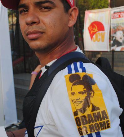 """Venezuelan activist wears """"Obama go home"""" sticker at Summit of Americas (photo/ Tim Rogers)"""